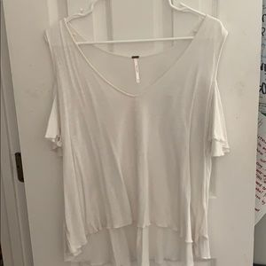 free people white cold shoulder tee